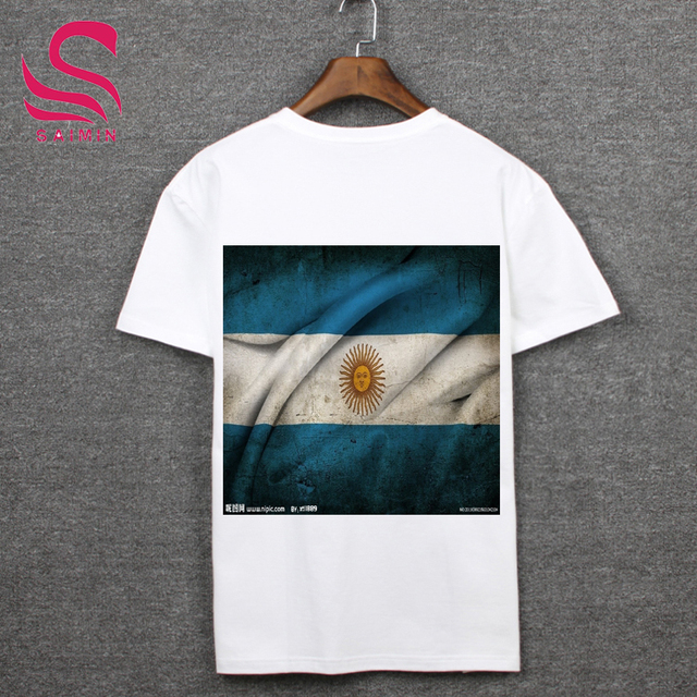 Russia's 2018 football World Cup fans equipped Argentina fans dedicated t-shirts Argentina flag shirt