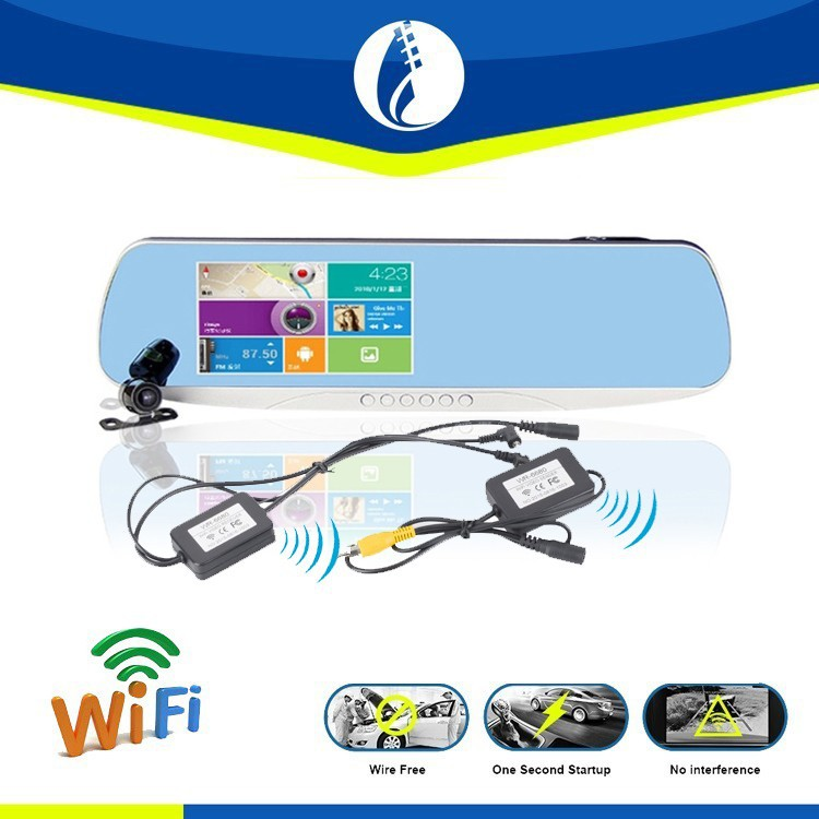 Wireless WIFI Back Up HD Waterproof GPS Reserving Camera Car Rearview Mirror