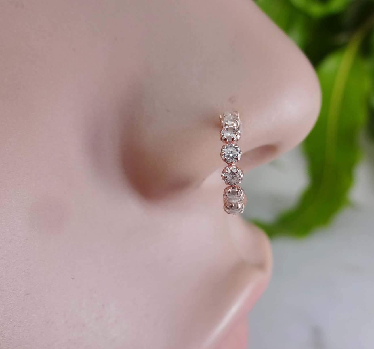 Crystal Nose Ring,Rose Gold Nose Ring,Diamond Nose Stud,Monroe Piercing,Crystal Gold Piercing,Indian Nose Jewelry,Indian Nose Ring,Indian Gold Piercing,Gold Nose Hoop,Gold Nose Ring(TEJ607)