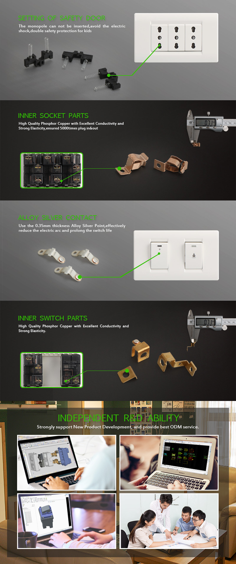 Modern Socket and 2 Gang On/Off Switch For Home