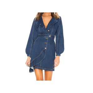 Hot sell women denim dress designs long sleeve jean dress