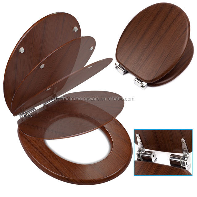 Elevated Walnut Wooden Effect Toilet Seats Lid Covers With Soft Close Slow  Close Self Closing Mechanismsoft Close Zinc Alloy Chrome Plated Toilet Seat  ...