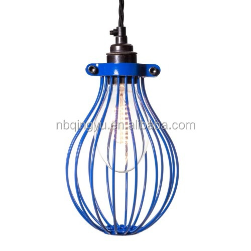 Emazon Hot Colorful Antique Vintage Shade E27 Edison Bulb Cage Lamp Guard in blue color