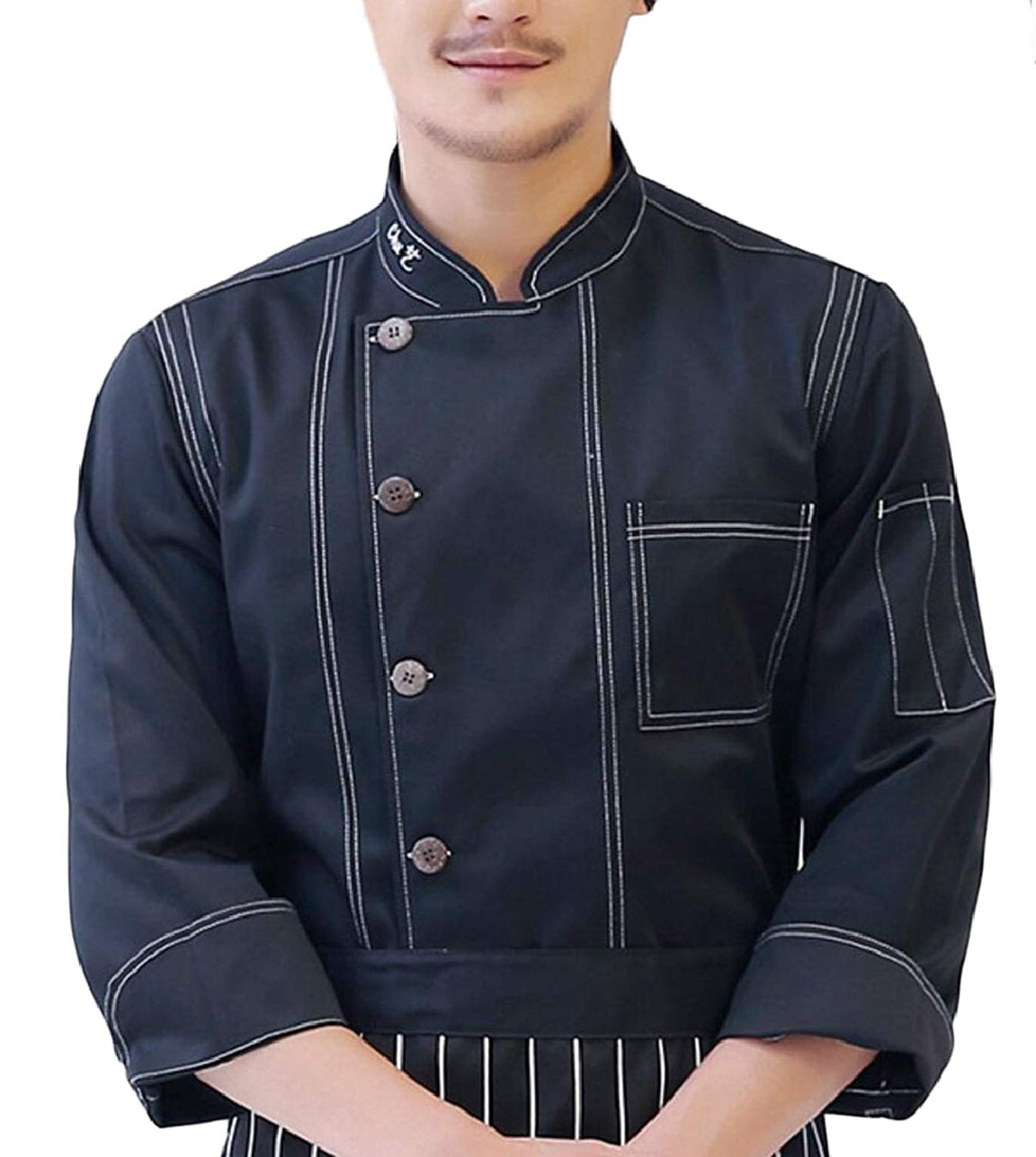 ONTBYB Men Denim Double Breasted Chefs Work Clothes Chefs Uniforms