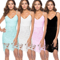 2018 Summer New Arrival Ladies Spring Sexy Dress Strap Lace Bag Hip Dress Solid Color Fashion Women Slim Dress V-Neck