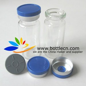 10ml sterile clear vial gray rubber stopper blue smooth 20mm flip top cap crimper for pack Kigtropin injection