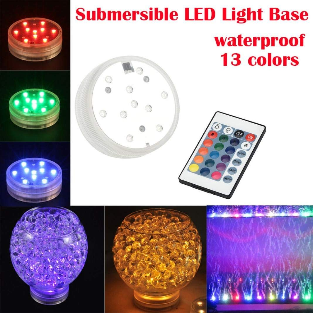 Dreamyth Colorful 10 LED Aquarium Diving Light With Remote Controller Battery Waterproof Practical
