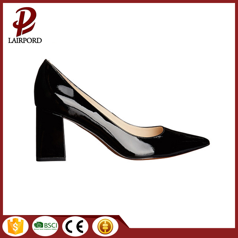 2017 High Quality China Wholesale Black PU Leather Pointed Toe Block High Heel Shoes Pumps Ladies Office