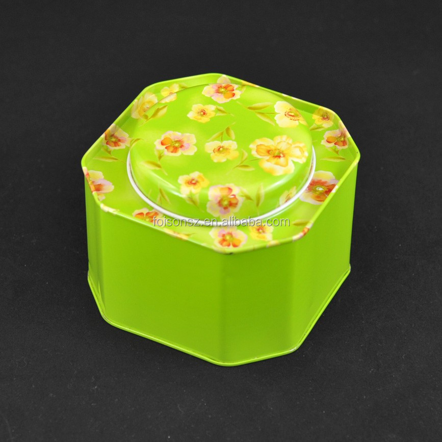 Special octagon shaped gift metal box for candies