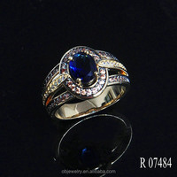 Yellow Copper/Brass material jewelry big stone ring designs for women