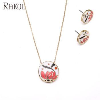 Rakol Indian Pendant Necklace Earrings Set Cloisonne Enamel Jewelry