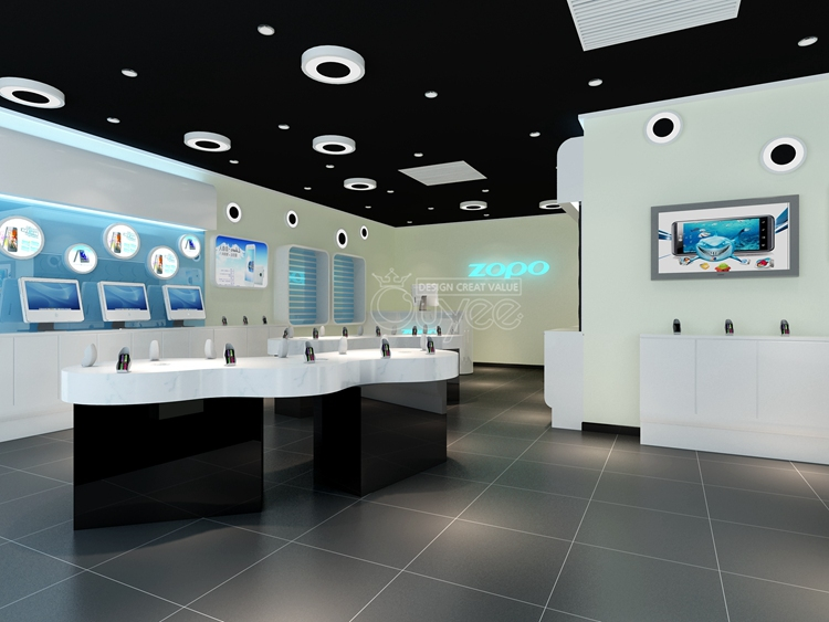Factory Customized Store Fixture Electronics Shop Counter Design Showroom Display