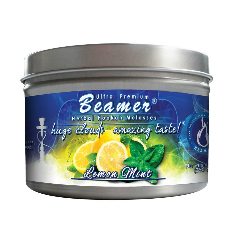 Lemon Mint 250 Gram Tin Beamer Ulra Premium Herbal Hookah Molasses. Made in the USA. 40 + flavors