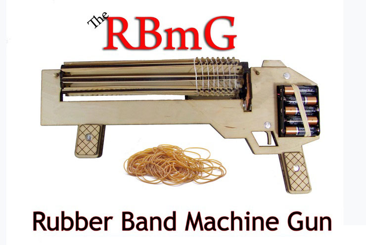 RBmG Rubber Band Machine Gun - Shoots Up to 10 Rounds Per Second - Ultimate Office Warfare Novelty Toys