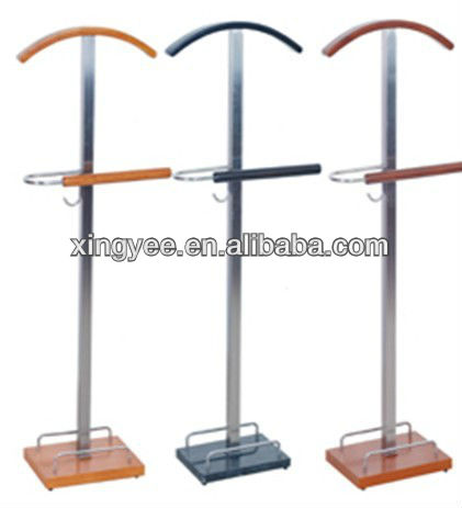 Modern hotel solid wood and stainless steel coat stand