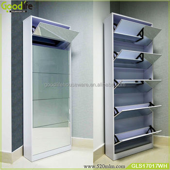 25 Pairs Mirrored Shoe Cabinet Rack Mirror Storage Organiser 5 Drawers White