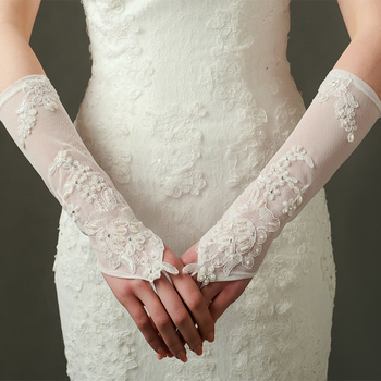 9300-90 Wedding Bridal Gloves  Party Flower Pearl Lace Stretch Satin Long Fingerless Gloves Ivory
