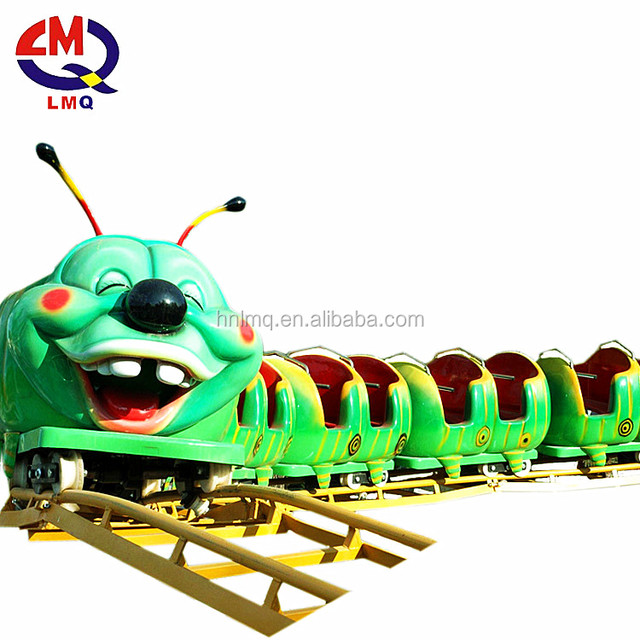 Outdoor equipment rides track caterpillar slide worm wacky mini roller coaster for sale