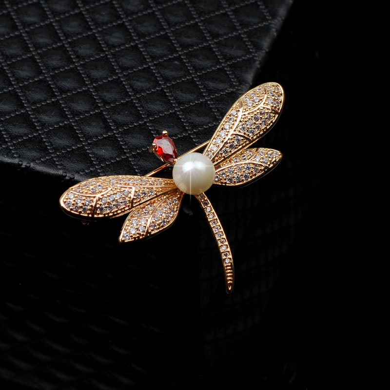 Genuine Freshwater Pearl Brooches Jewelry Type and Crystal, Rhinestone Main Stone Dragonfly brooch