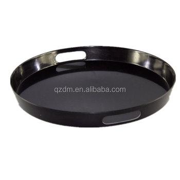 Plain Black Melamine Round Tray Serving Tray Handle Tray Buy