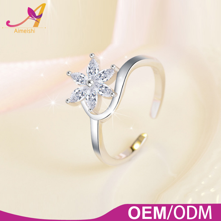 New Design Jewellery Women 925 Sterling Sliver AAA CZ Pave Setting Snow Open Cuff Finger Ring