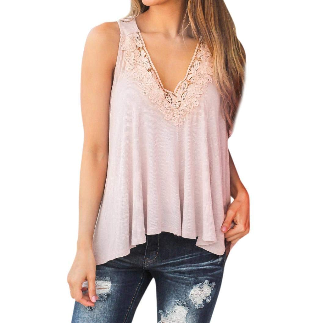 Blouse,Women Summer Lace Vest Top Short Sleeve Casual Tank Tops T-Shirt