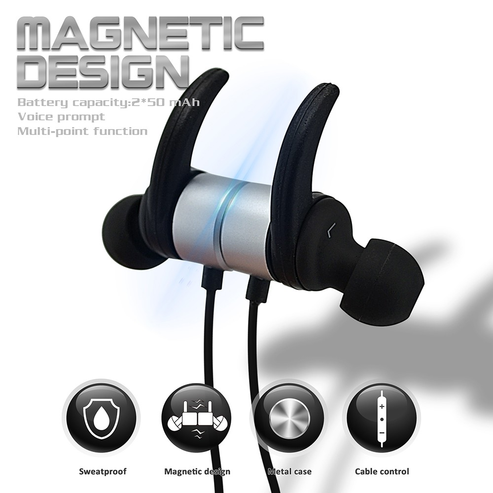 R1615 Magnetic Headphone Ear Hook Bluetooth Stereo Microphone Sweatproof Wireless Earphone For Running- Sharon