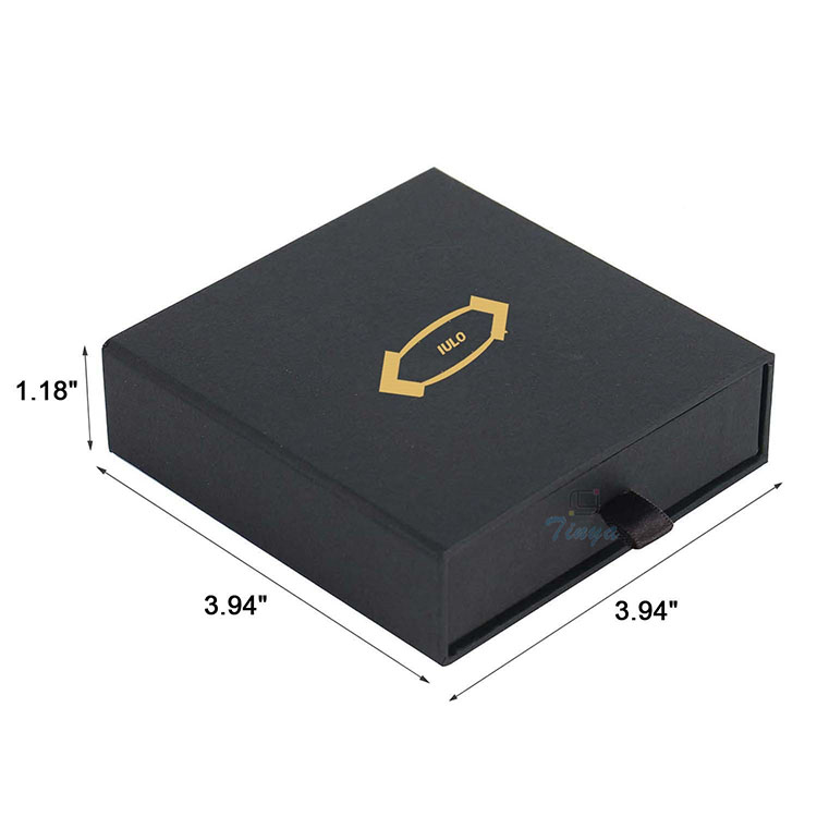 black paper hot stamp paper box drawer