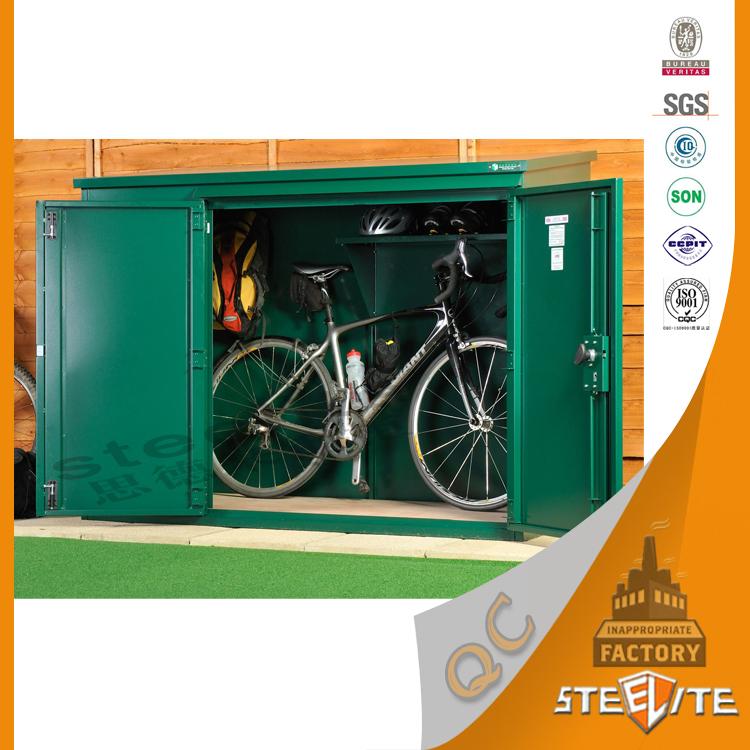 Waterproof Outdoor Steel Bike Lockers / Outdoor Bicycle Storage Cabinets  With Security Lock ...