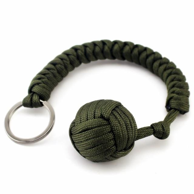 Monkey Fist Keychain Chaîne Porte-clés survie militaire 550 bille en acier Auto defen