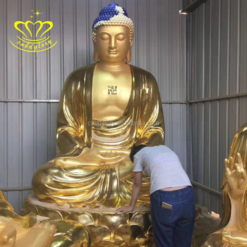 High quality Painting fiberglass Seated Buddha statues Buddhism for sale