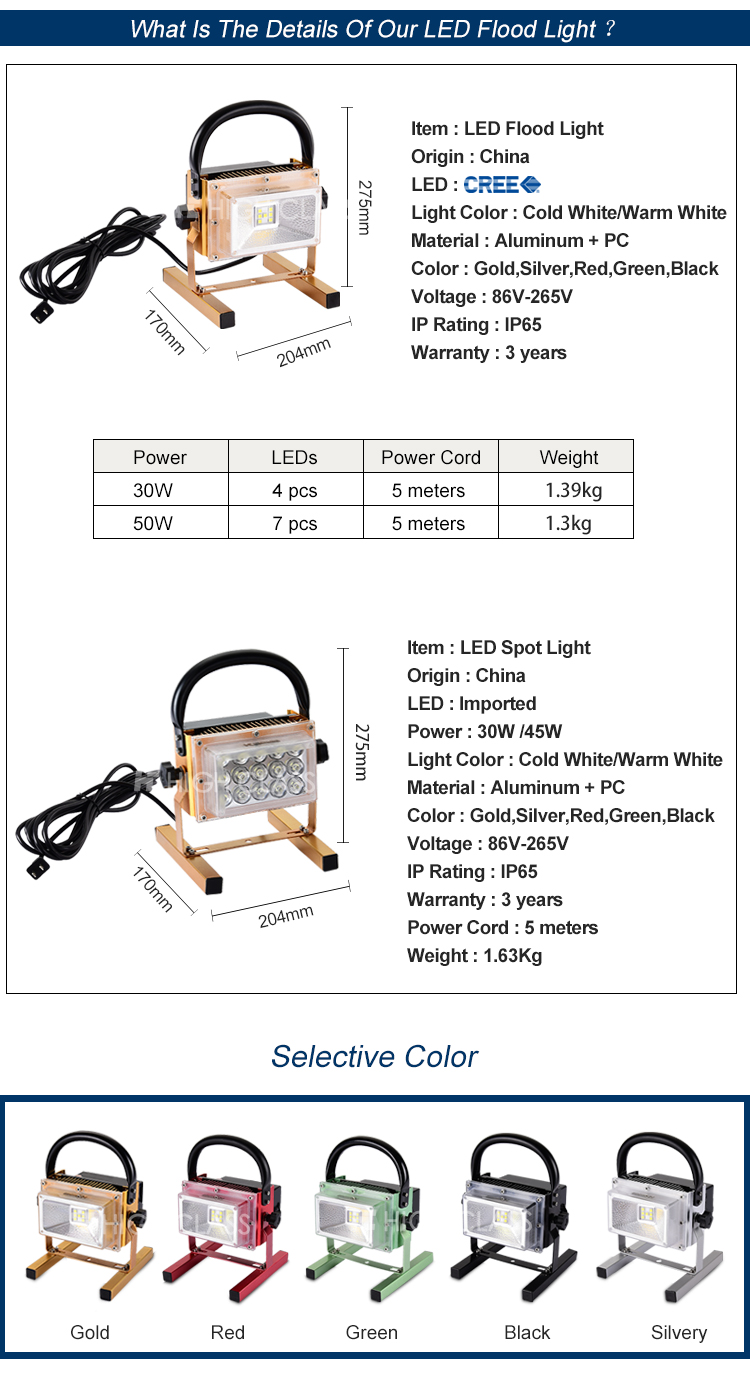 High performance portable rohs10w 20w 30w 40w 50w ip65 waterproof rechargeable led floodlight