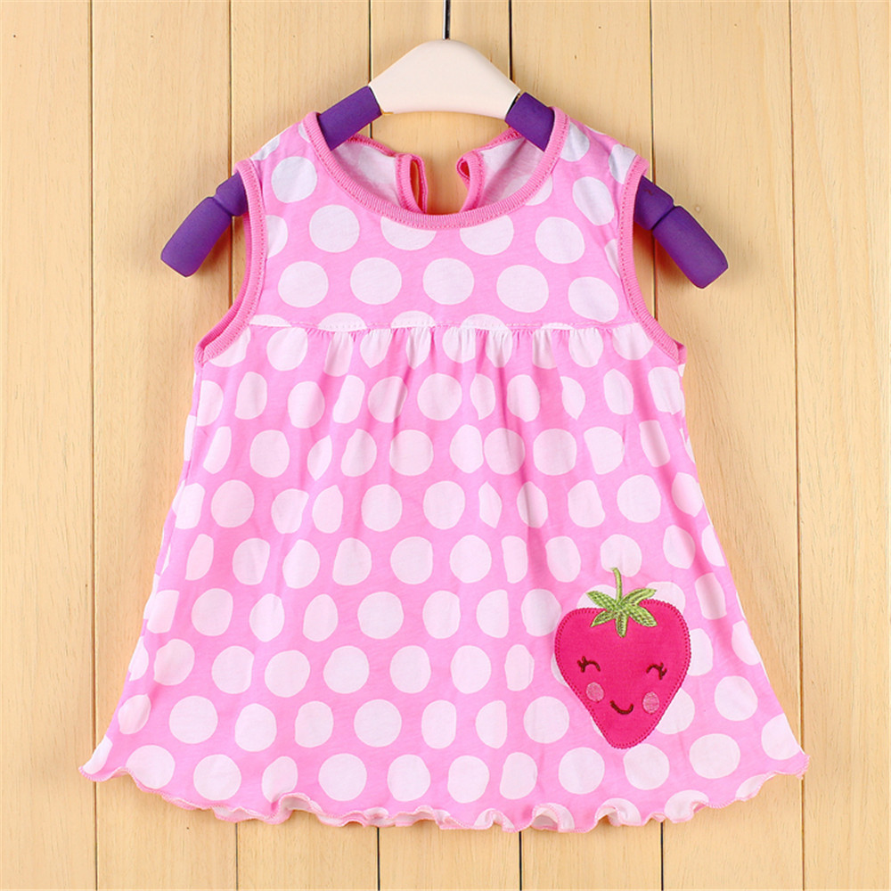 Summer Baby Girl Embroidery Floral And Cartoon Dress