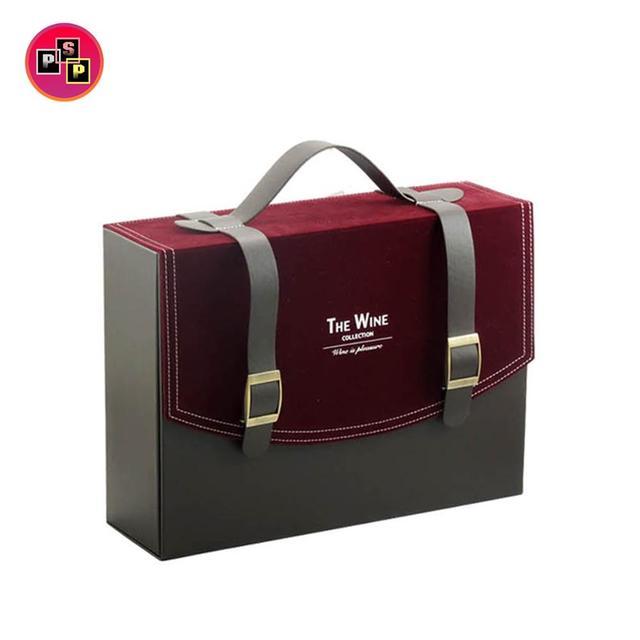 Custom Logo Handbag Shaped Wood Double Wine Box