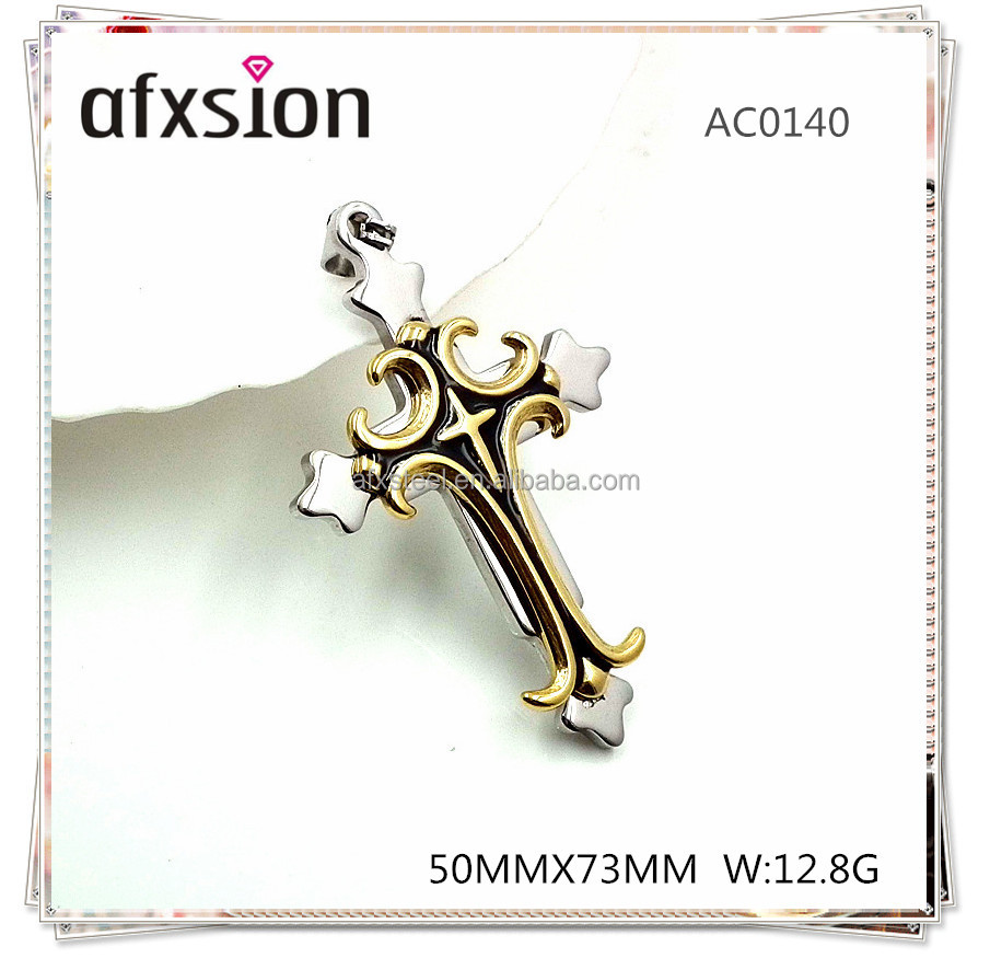 The latest <strong>fashion</strong> 3-tone <strong>fashion</strong> Gothic style stainless steel 316 cross pendant necklace
