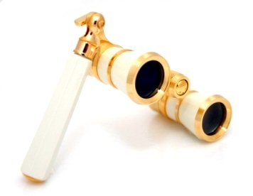 Finissimo Optics 3x25 White Opera Glasses with Extendable Handle / Theater Binoculars / Gold Trim