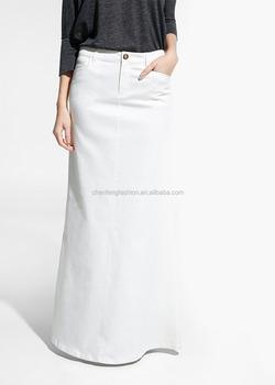 ce95d70f90ca61 effen witte katoenen rok uitlopende katoen maxi rokken met dubbele  steekzakken