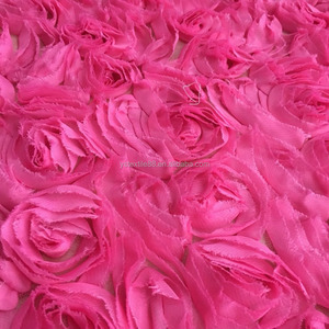 100 Polyester Embroidery Fabric 3d rose flower lace embroidered fabric for dress