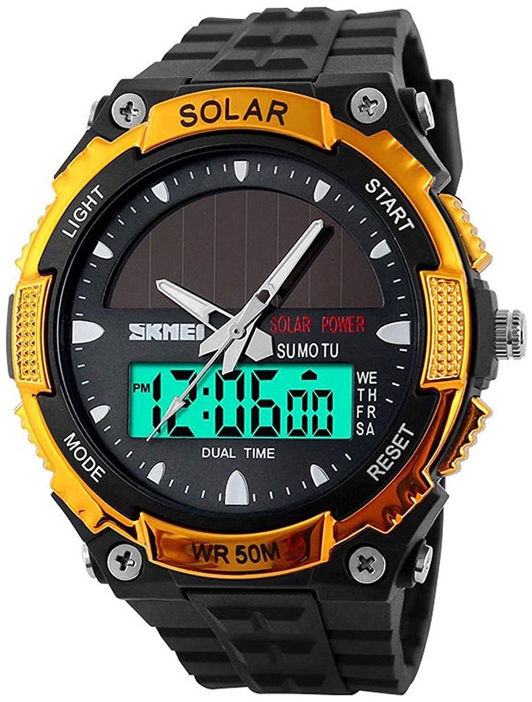 5faa2d30e770 Get Quotations · Fanmis Men s Solar Powered Casual Quartz Watch Digital    Analog Multifunctional Sports Watch Gold