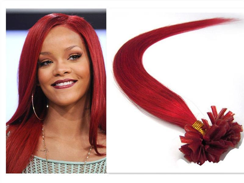 Hot Red U Tip Fake Hair Extension Silky Straight No Shedding And