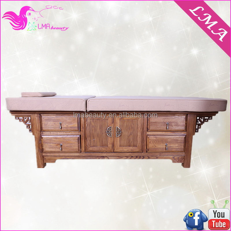 Best sell best quality antique hand carved wooden wooden cosmetic bed for massage MD34