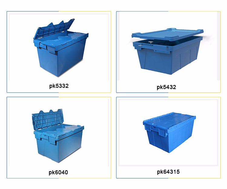 Plastic industrial shipping containers with attached lid