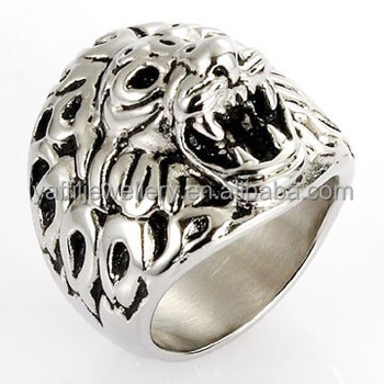 s biker rings ring silver ebay itm head steel mens jewelry tiger