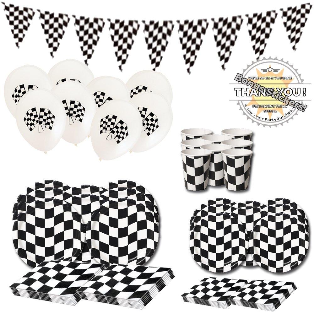 Checkered Flag Party Supplies 73 Pieces Nascar Racing Themed Race Car Wavy
