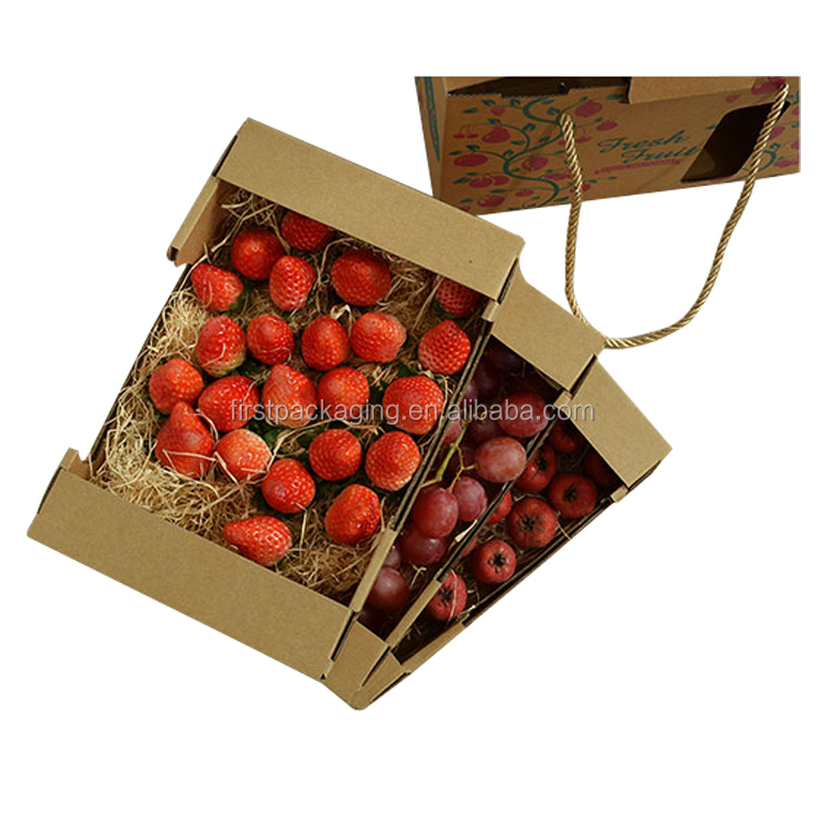 Recycled Strong Corrugated Box for Strawberries, Kraft Paper Corrugated Gift Box Packaging With Handle