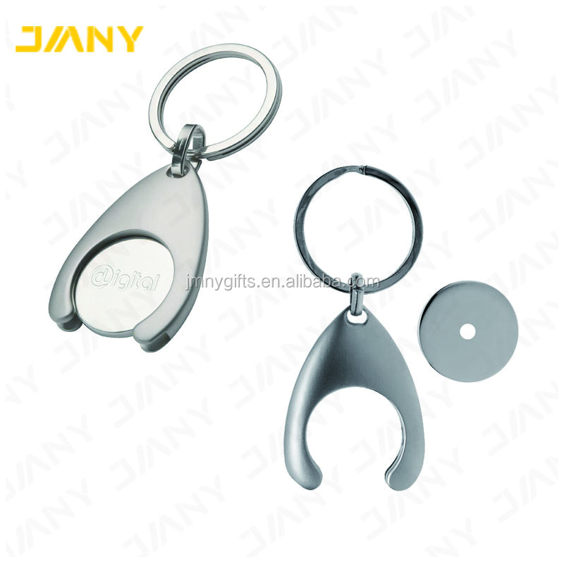 Wholesale Custom Coin Key Ring Trolley Token with Metal Holder