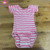 Toddler cotton bodysuit leotard wholesale stage dance gymnastic girls pink stripe short sleeve leotard