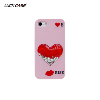 2018 Hot Sale Rubber Silicone with Heart Liquid Mobile Phone Cases for iPhone 7/8