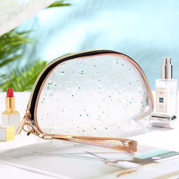 Top Quality Starry Sequins Transparent TPU Women Cosmetic Bag