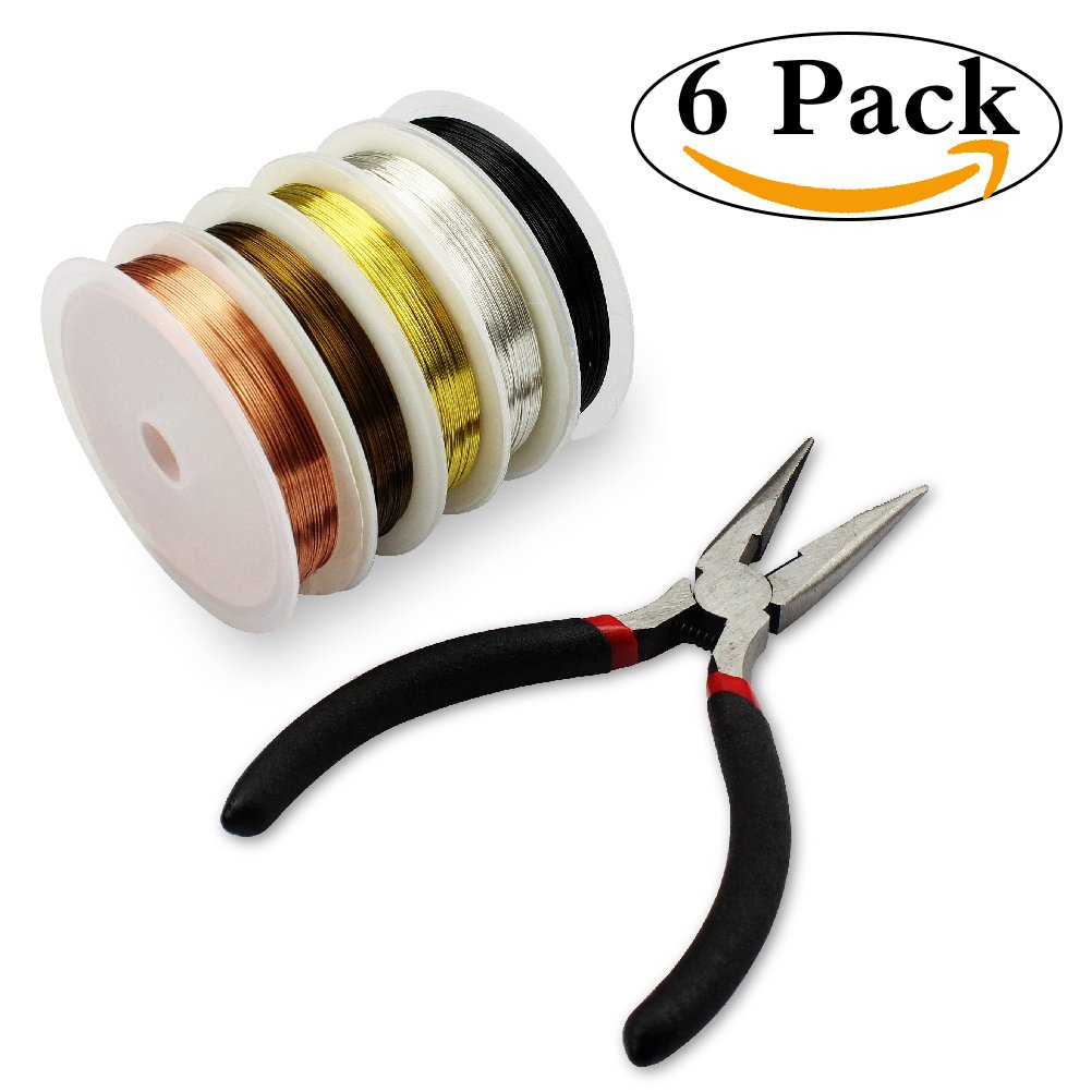 Jewelry Making Wire,HBlife 5 Rolls 26 Gauge Copper Wire Tarnish Resistant Jewelry Beading Wire with Cutting Pliers for Crafts Jewelry Making Supplies, 5 Assorted Colors, Totally 55 Yards